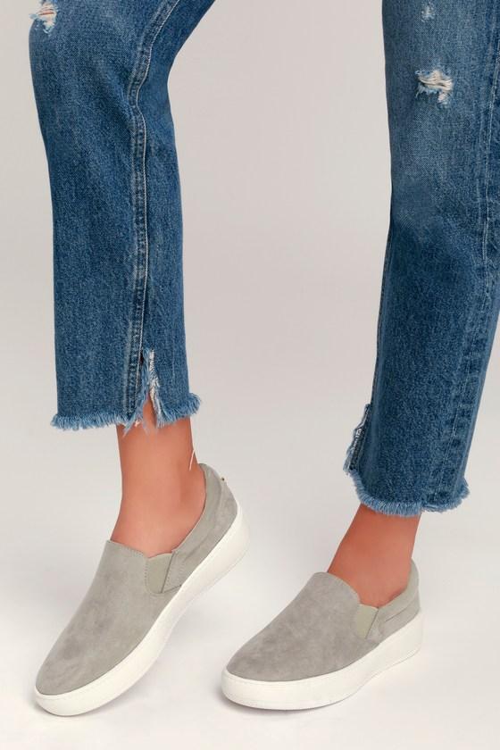 Cute Grey Sneakers - Slip-On Sneakers