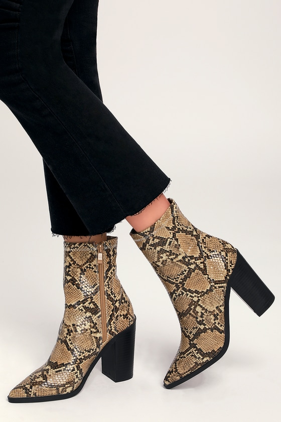 9b5ebb67fb0 Chic Tan Snake Boots - Vegan Leather Boots - Mid-Calf Booties