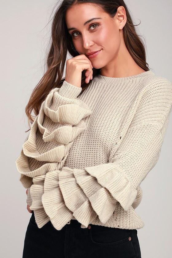 fb598fcfa0 Cute Beige Sweater - Flounce Sleeve Sweater - Long Sleeve Sweater