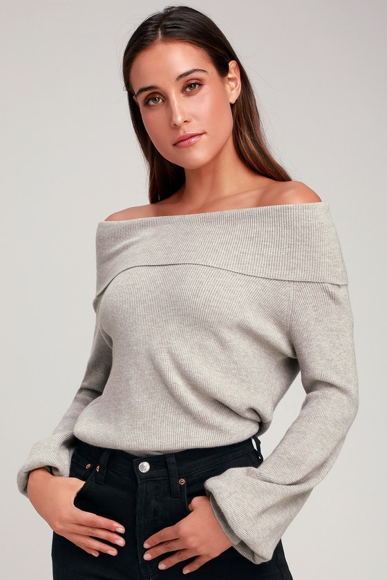 0d00c310a27 Cute Light Grey Sweater - Off-the-Shoulder Sweater - Knit Sweater