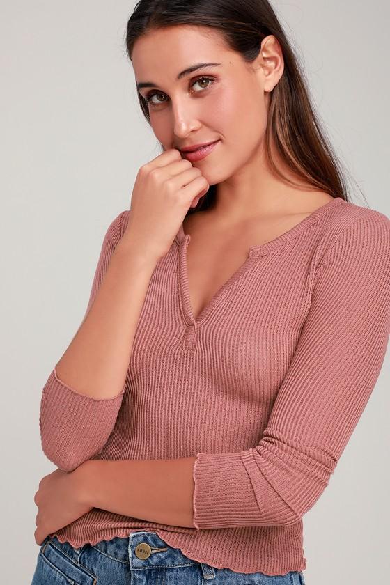 fdef3d607ff Cute Mauve Pink Top - Long Sleeve Top - Notched Top
