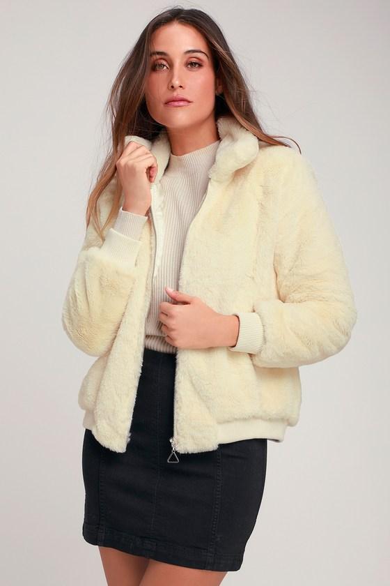 Women's 70s Shirts, Blouses, Hippie Tops Olly Cream Faux Fur Bomber Jacket - Lulus $74.00 AT vintagedancer.com