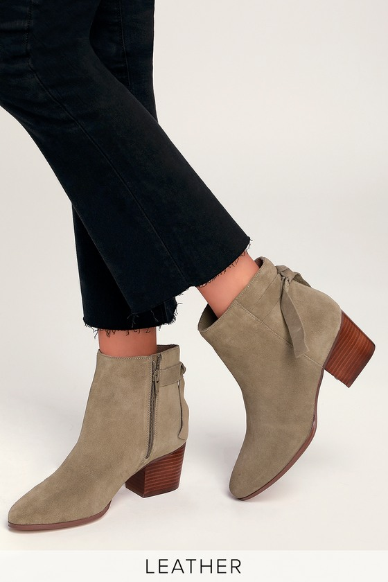 a0ea0b555 Sole Society Rhilynn - Taupe Ankle Booties - Suede Ankle Booties