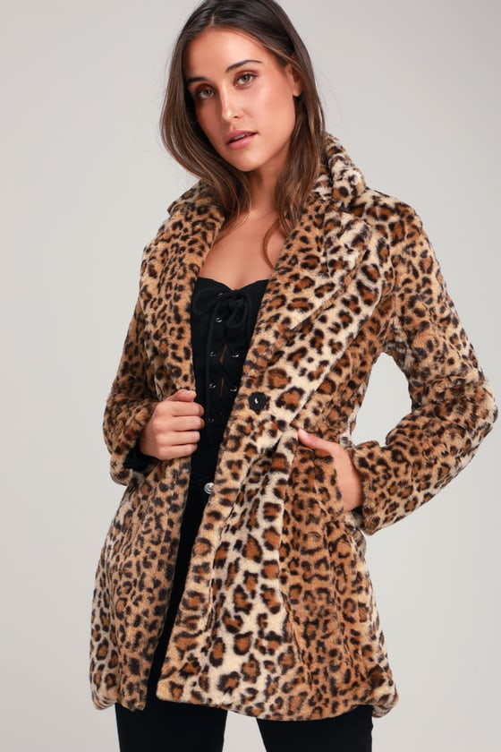 tan faux fur coat