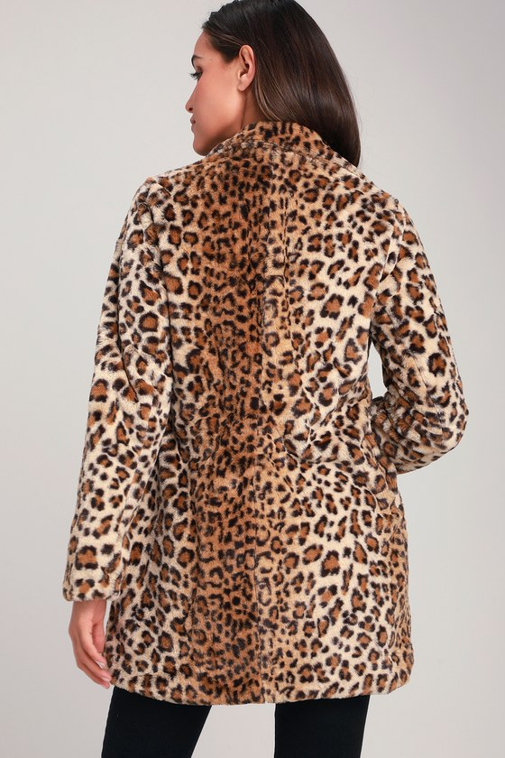 902fa623a63a Chic Tan Coat - Leopard Print Coat - Long Coat - Faux Fur Coat