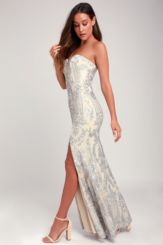 901ca8291ff6 Bariano Elle Dress - Silver Sequin Maxi Dress - Strapless Dress