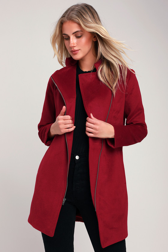 f993bb9ff988f Jack By BB Dakota Zip to My Heart - Wine Red Coat - Office Coat