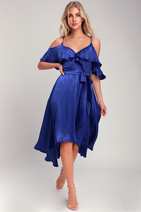 a6bcf05cbac Royal Blue Dress - Satin Dress - High-Low Dress - Wrap Dress