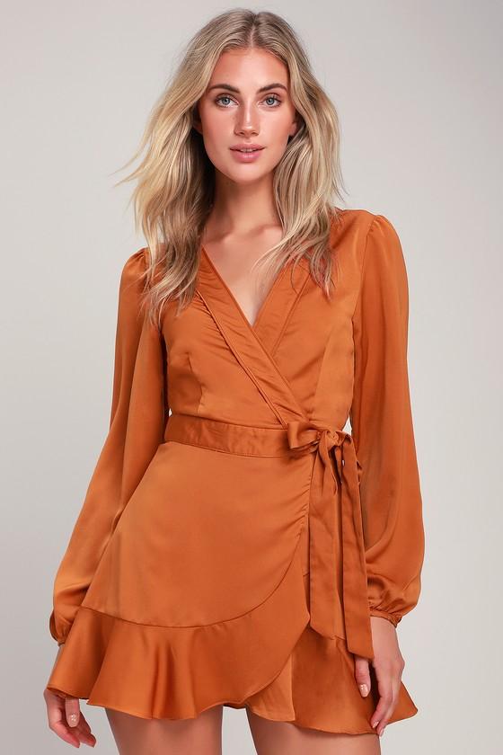 8daec6a8990eb0 Chic Orange Dress - Long Sleeve Wrap Dress - Satin Wrap Dress