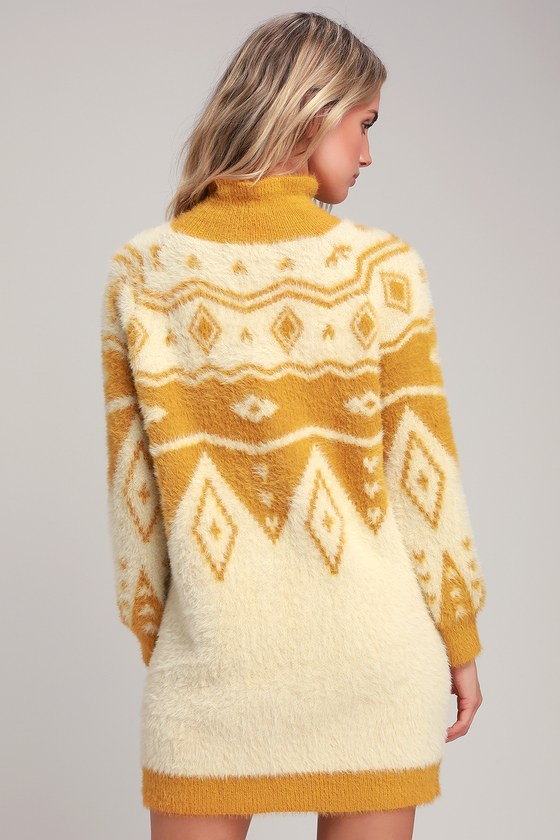 c83d1ff5ad3 Honey Punch - Mustard Yellow Print Dress - Fuzzy Sweater Dress