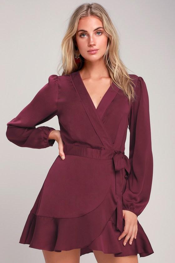 68e6c0d0cb63 Plum Purple Dress - Long Sleeve Wrap Dress - Satin Wrap Dress