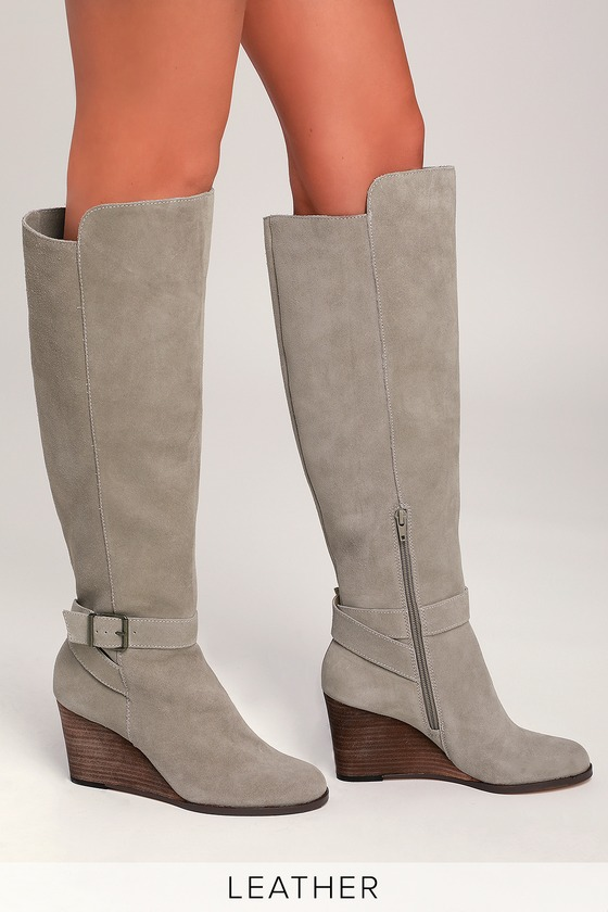 3a7aeb2eb4f Sole Society Paloma - Grey Knee-High Boots - Wedge Boots