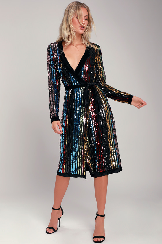 de1fc3785f3d5 Rainbow Striped Dress - Rainbow Sequin Dress - Sequin Robe Dress