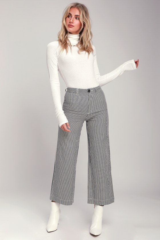 728679249 Rolla s Old Mate - Navy Blue Striped Pants - Wide-Leg Pants