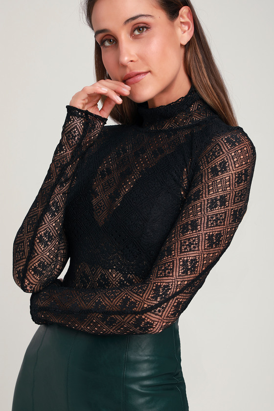 191a55b2f48f Free People Sweet Memories - Black Lace Top - Lace Turtleneck Top