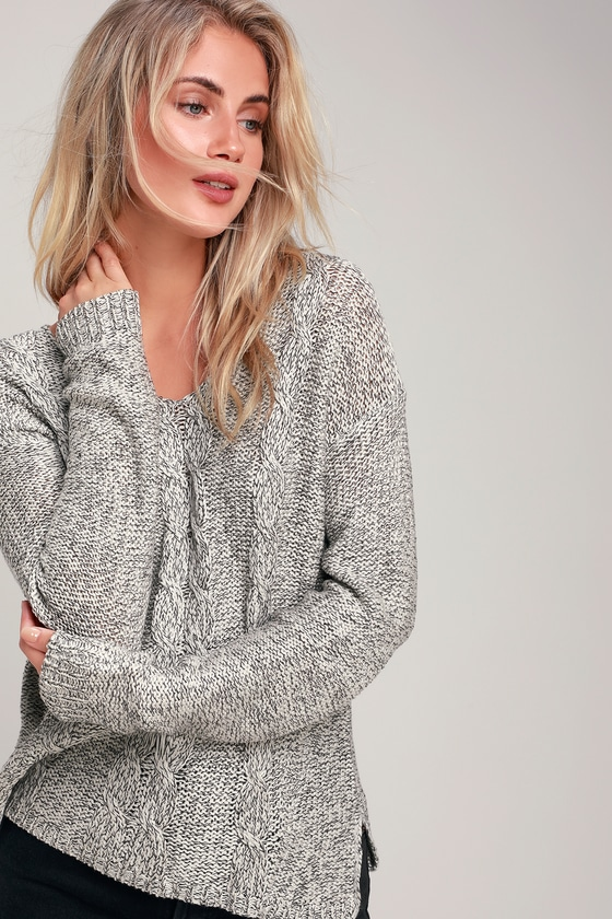 9f86cbc58d RD Style Sweater - Grey Marled Sweater - Cable Knit Sweater