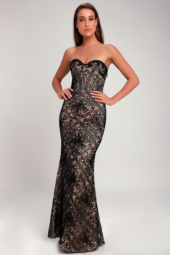 Bariano Allison Black Strapless Dress Lace Maxi Dress Dress