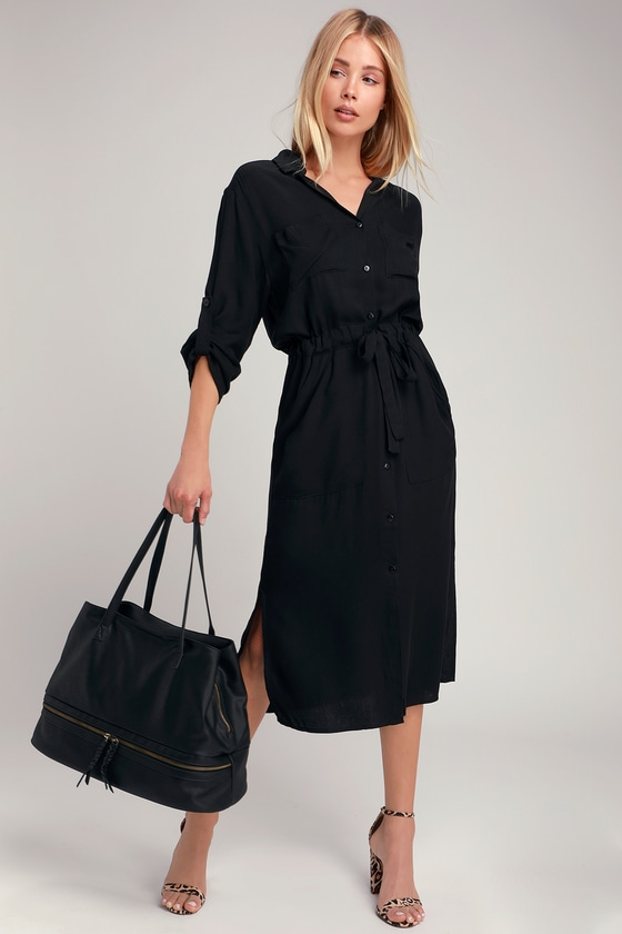 13ce33a324f Classic Black Shirt Dress - Long Sleeve Dress - Midi Dress