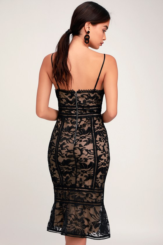 a0fe76b8d1 Stunning Black Lace Dress - Black and Nude Dress - Trumpet Dress