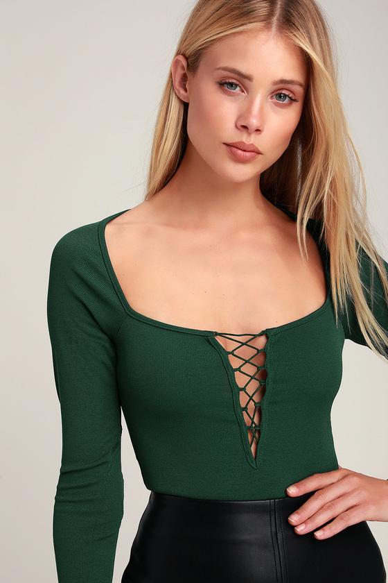 827dc7c803f3 Honey Punch Bodysuit - Green Ribbed Bodysuit - Lace-Up Bodysuit