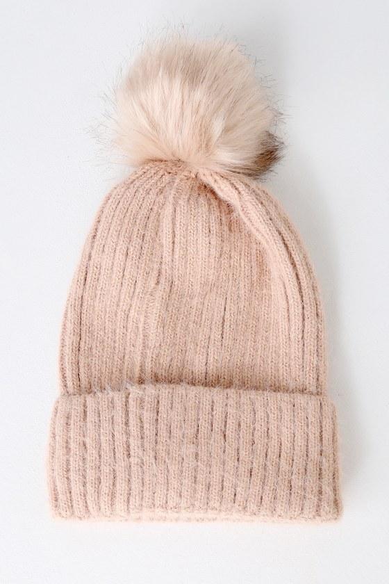 9721ca5dbd0 Cute Blush Pink Beanie - Knit Beanie - Fur Pom Pom Beanie