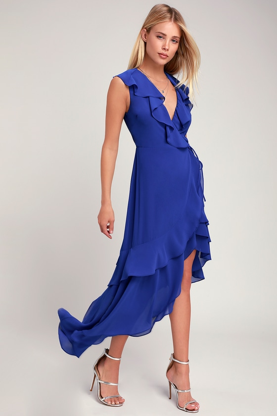 1e91c0ecfe33 Cute Cobalt Blue Dress - Wrap Dress - Ruffled Wrap Dress