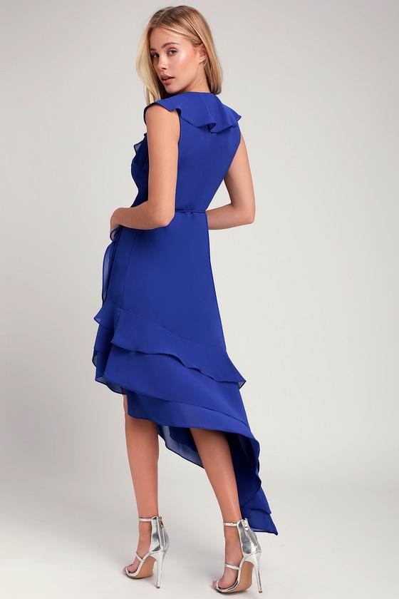 0970a2d8c2a4 Daydream Lover Cobalt Blue Asymmetrical Ruffled Wrap Dress