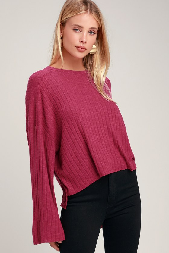 c17b4f24a4d Cute Sweater Top - Fuchsia Top - Dolman Sleeve Top - Pink Top
