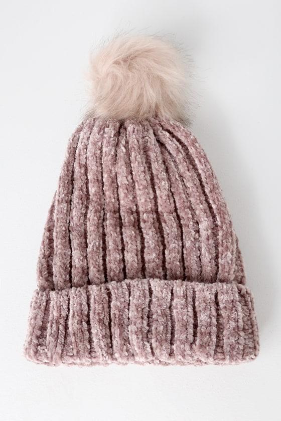 1e260feaca729f Adorable Mauve Beanie - Chenille Beanie - Pom Pom Beanie - Hat