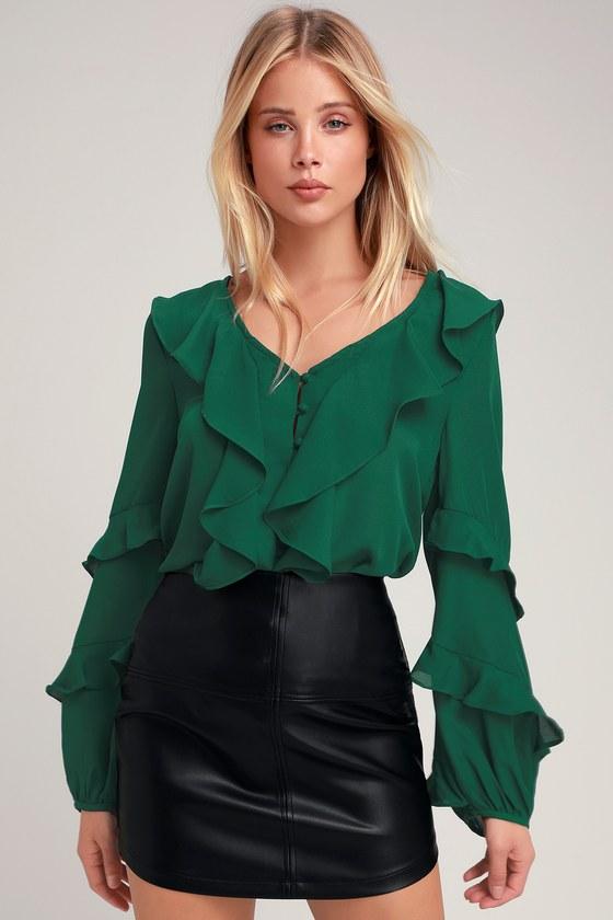 a1bb3d19253f8 Cute Dark Green Blouse - Ruffle Top - Ruffled Button-Up Top