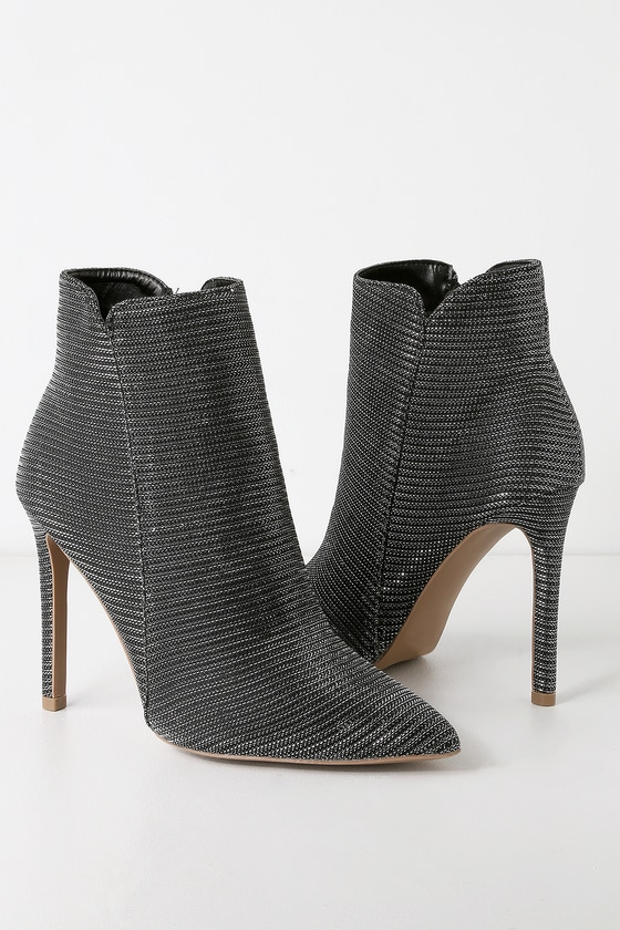 6c9f77fc1353 Cool Black and Silver Booties - Metallic Booties - Heeled Booties