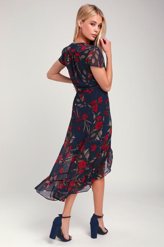 027de9227fd574 Chic Dress - Navy Blue Floral Dress - Wrap Dress - Midi Dress