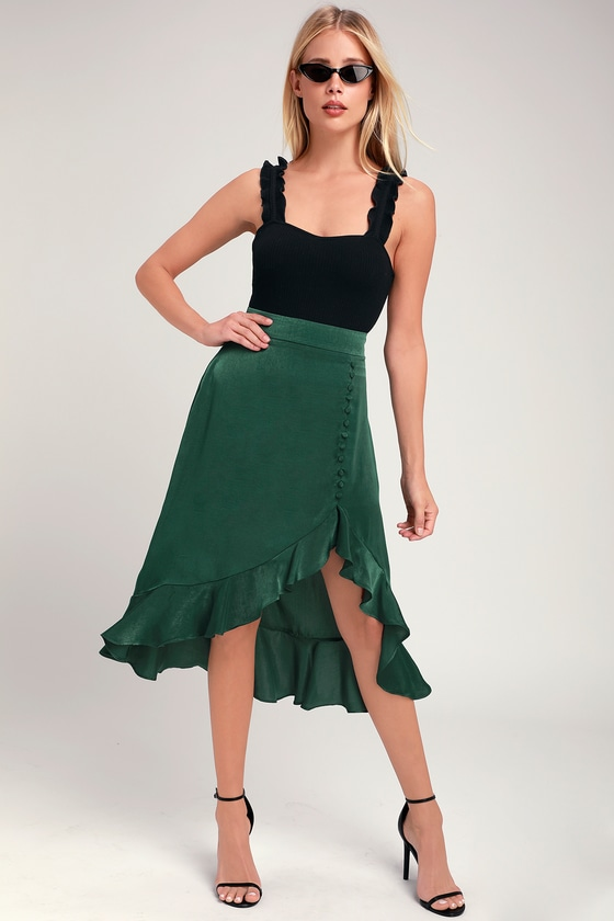 33bb0db22a0c Chic Forest Green Skirt - Ruffled Midi Skirt - Button Front Skirt