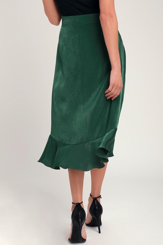721de8ffd Chic Forest Green Skirt - Ruffled Midi Skirt - Button Front Skirt