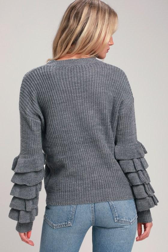 e38757723f Cute Grey Sweater - Flounce Sleeve Sweater - Long Sleeve Sweater