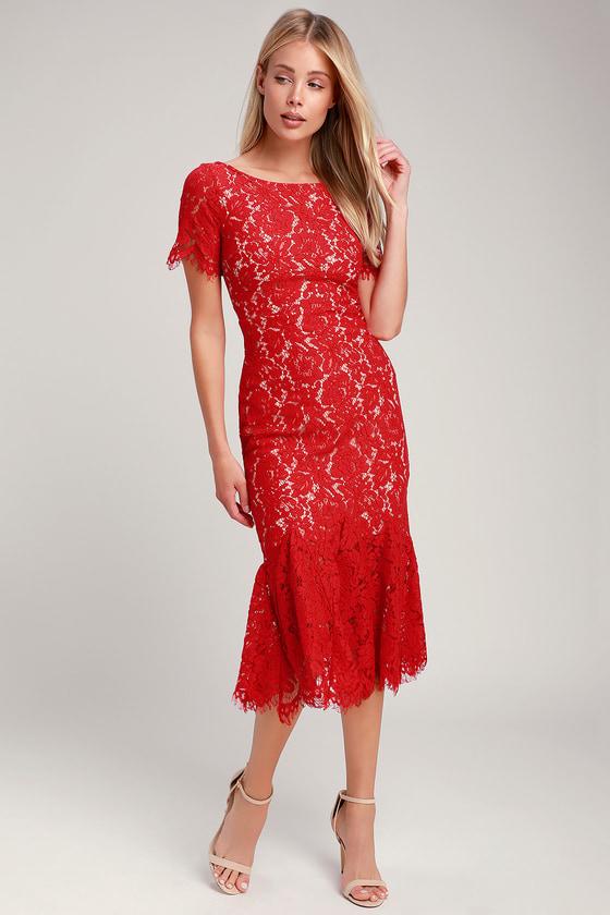 88bf5c6bd01 Stunning Red Dress - Red Lace Dress - Lace Midi Dress