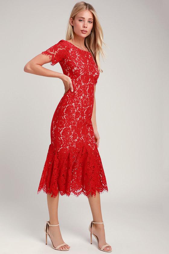 482e1fc46a4 Love You Tonight Red Lace Midi Dress
