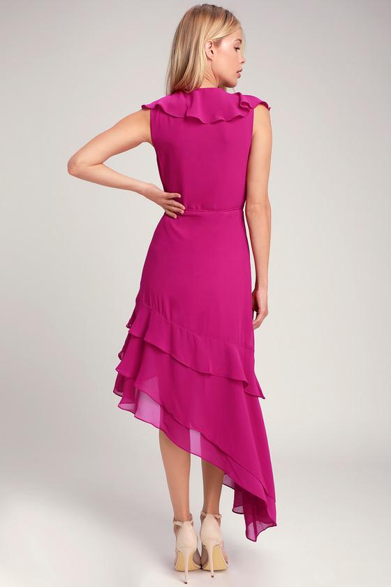 5abd1428274f Daydream Lover Magenta Asymmetrical Ruffled Wrap Dress
