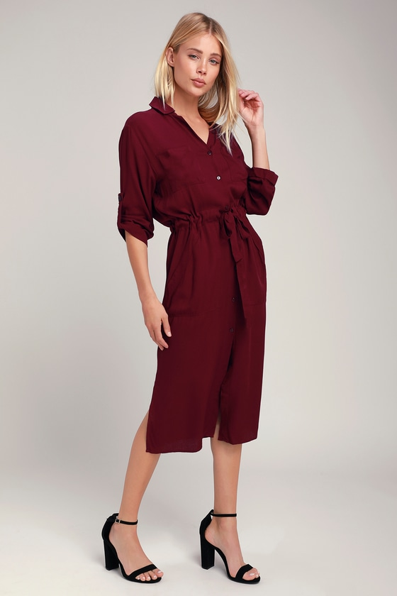 eeb5fc54181 Classic Plum Purple Shirt Dress - Long Sleeve Dress - Midi Dress