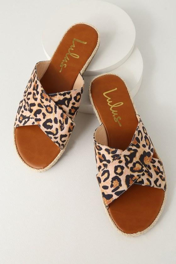 c4d47cd34fc Cute Leopard Slide Sandals - Espadrille Slides- Suede Slides