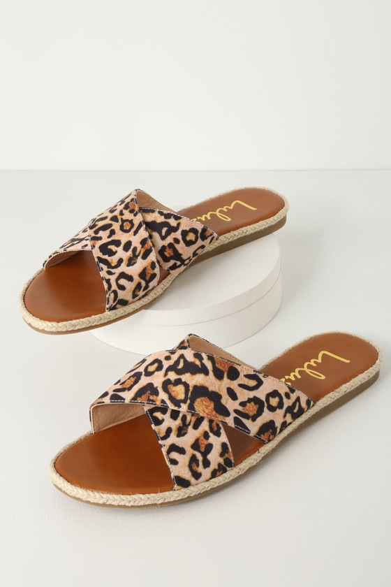 d15e62eb7f54 Cute Leopard Slide Sandals - Espadrille Slides- Suede Slides