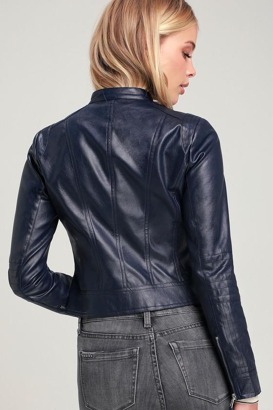 Chic Navy Blue Moto Jacket Navy Jacket Vegan Leather Jacket