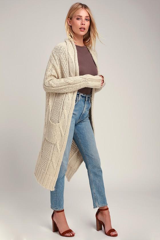 3e4c2bc9e7 RD Style Sweater - Beige Cardigan - Knit Cardigan - Cardigan