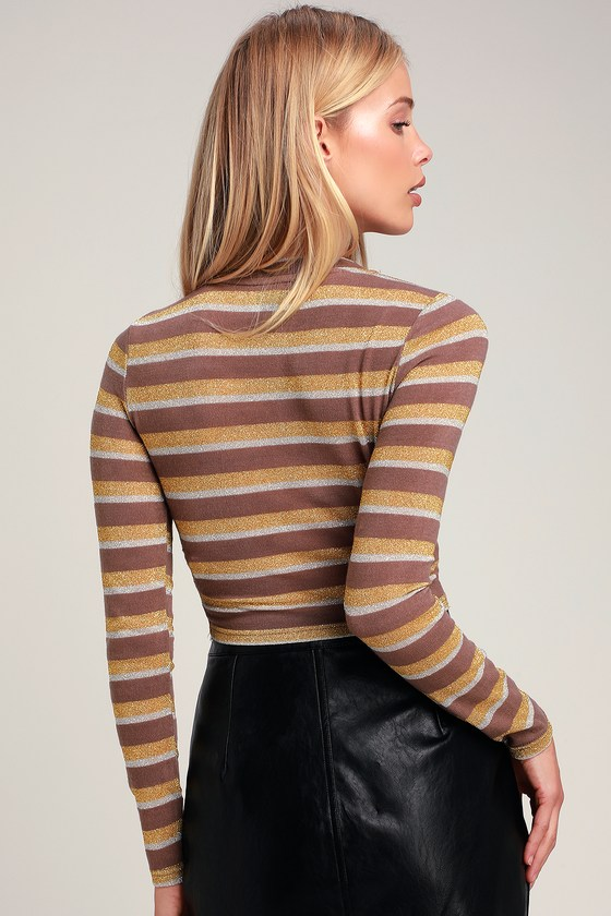 73c1ea4a9d5 Cute Taupe Top - Striped Top - Crop Top - Long Sleeve Top