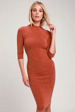 2931070eb48e4 Conversation Starter Rust Orange Mock Neck Midi Sweater Dress