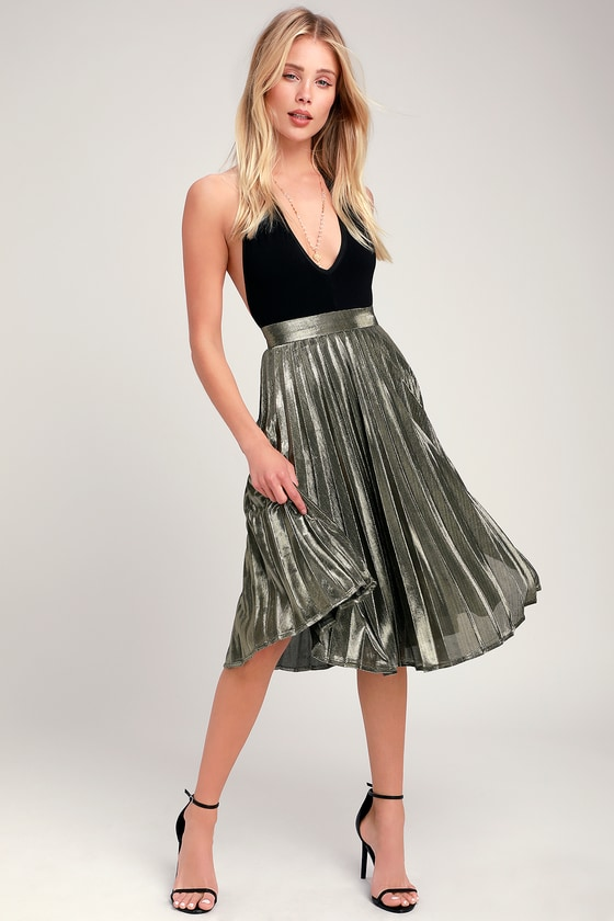 49e1520644 Luxe Gold Skirt - Pleated Skirt - Midi Skirt - Metallic Skirt