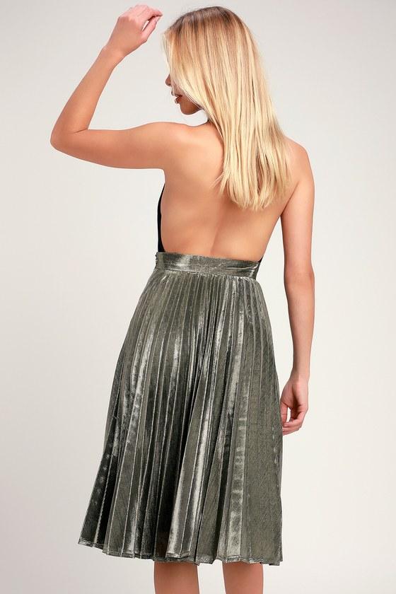 b4433a3c7fb058 Luxe Gold Skirt - Pleated Skirt - Midi Skirt - Metallic Skirt