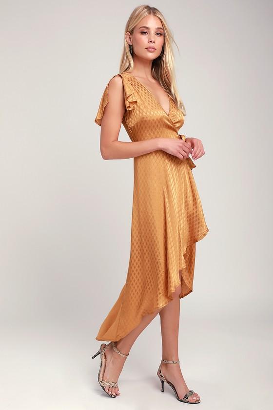 0837ffd7b577 Band of Gypsies Quinn - Golden Yellow Wrap Dress - High-Low Dress