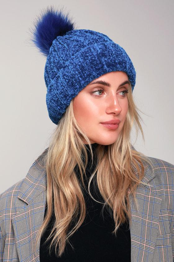 Adorable Blue Beanie - Chenille Beanie - Pom Pom Beanie - Hat ef41091dbc4