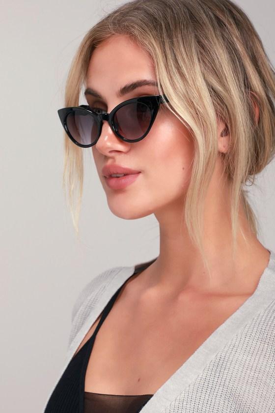 Retro Sunglasses | Vintage Glasses | New Vintage Eyeglasses Wicked Wanda Black Cat-Eye Sunglasses - Lulus $19.00 AT vintagedancer.com